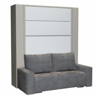 BELUGA SOFA armoire lit escamotable 140cm finiton gris et blanc canapé microfibre grise