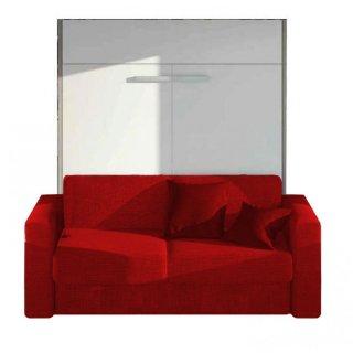 Armoire lit à ouverture assistée TRACCIA structure blanche canapé intégré accoudoirs larges tissu rouge couchage 160cm