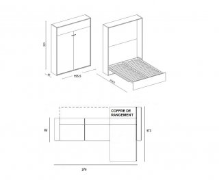 Armoire lit à ouverture assistée TRACCIA canapé intégré et méridienne droite couchage 140*200cm