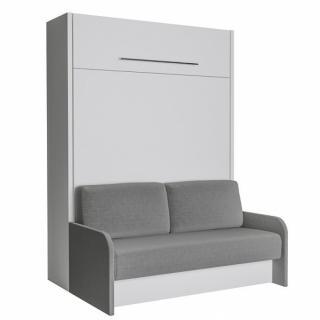 SPACE SOFA FAST armoire lit escamotable 140 cm blanche avec canapé et accoudoirs microfibre grise