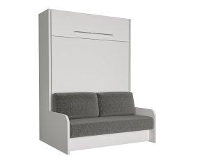 SPACE SOFA FAST armoire lit escamotable 140 cm blanche avec canapé microfibre grise