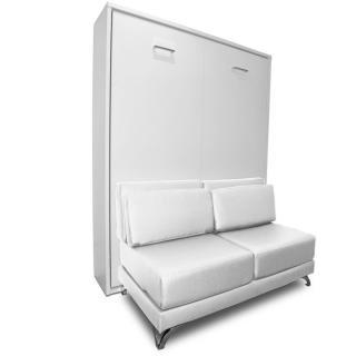 Armoire lit escamotable TOWN canapé blanc intégré couchage 140 * 200cm