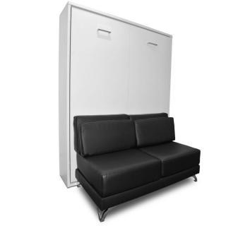Armoire lit escamotable TOWN canapé noir intégré couchage 140 * 200cm