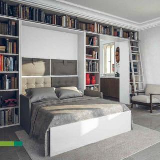 Armoire lit à ouverture assistée TRACCIA canapé intégré couchage 160cm blanche avec canapé tweed beige