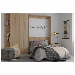 Composition armoire lit escamotable SMART-V2 chêne naturel Couchage 160 x 200 cm armoire 2 portes et terminal arrondi