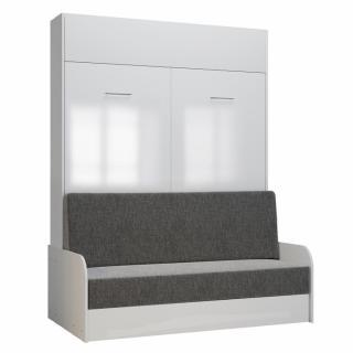 Armoire lit escamotable DYNAMO SOFA accoudoirs façade blanc brillant canapé gris 140*200 cm