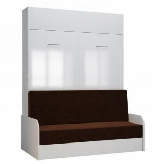 Armoire lit escamotable DYNAMO SOFA accoudoirs façade blanc brillant canapé marron 140*200 cm