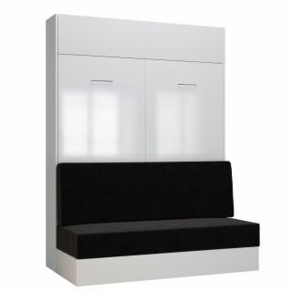 Armoire lit escamotable DYNAMO SOFA façade blanc brillant canapé anthracite 140*200 cm