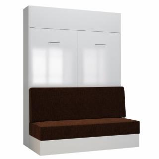 Armoire lit escamotable DYNAMO SOFA façade blanc brillant canapé marron 140*200 cm