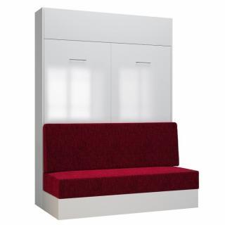 Armoire lit escamotable DYNAMO SOFA façade blanc brillant canapé rouge 140*200 cm