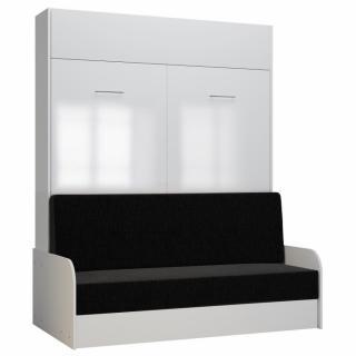 Armoire lit escamotable DYNAMO SOFA accoudoirs façade blanc brillant canapé anthracite 160*200 cm