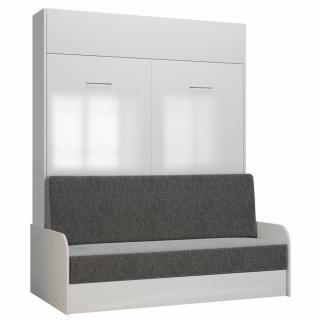 Armoire lit escamotable DYNAMO SOFA accoudoirs façade blanc brillant canapé gris 160*200 cm