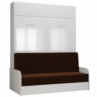 Armoire lit escamotable DYNAMO SOFA accoudoirs façade blanc brillant canapé marron 160*200 cm