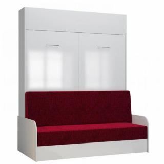 Armoire lit escamotable DYNAMO SOFA accoudoirs façade blanc brillant canapé rouge 160*200 cm