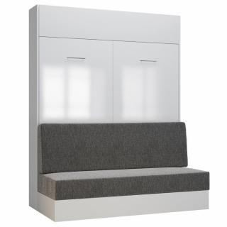 Armoire lit escamotable DYNAMO SOFA façade blanc brillant canapé gris 160*200 cm