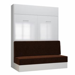 Armoire lit escamotable DYNAMO SOFA façade blanc brillant canapé marron 160*200 cm