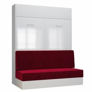 Armoire lit escamotable DYNAMO SOFA façade blanc brillant canapé rouge 160*200 cm