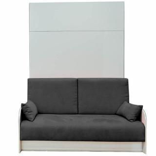 Armoire lit escamotable 160 cm BOX coloris blanc canapé coffre intégré tissu gris graphite