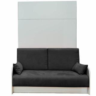 Armoire lit escamotable 160 cm BOX coloris blanc  canapé coffre intégré tissu noir