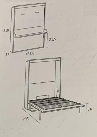 Armoire lit escamotable PRIMO avec bureau intégré Couchage 140x190cm Profondeur 37cm