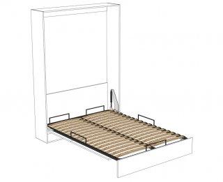 Composition armoire lit escamotable DYNAMO blanc mat Couchage 140 x 200 cm  2 colonnes rangements + angle