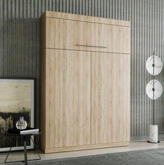 Lit escamotable LUTECIA 140*190 cm chêne avec rangement bibliothèque