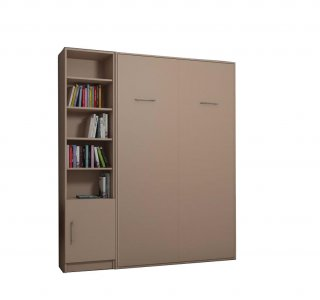 Composition armoire lit escamotable SMART-V2 Taupe mat Couchage 140 x 200 cm