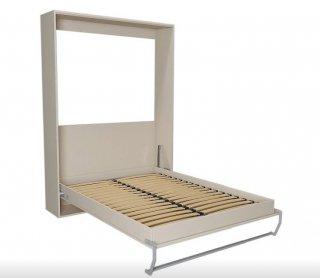 Composition armoire lit escamotable SMART-V2 Taupe mat Couchage 140 x 200 cm