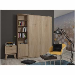 Composition armoire lit escamotable SMART-V2 chêne naturel Couchage 140 x 200 cm