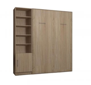 Composition armoire lit escamotable SMART-V2 chêne naturel Couchage 160 x 200 cm