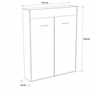 Composition armoire lit DYNAMO blanc mat Couchage 140 x 200 cm colonne armoire