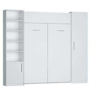 Composition armoire lit escamotable DYNAMO blanc mat Couchage 140 x 200 cm