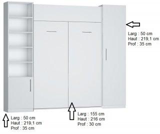 Composition armoire lit escamotable DYNAMO blanc mat Couchage 140 x 200 cm