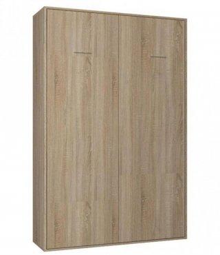 Composition armoire lit escamotable SMART-V2 chêne naturel Couchage 140 x 200 cm colonne armoire