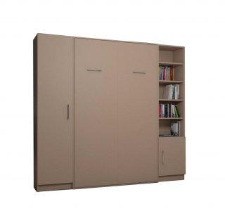 Composition armoire lit escamotable SMART-V2 Taupe mat Couchage 140 x 200 cm colonne armoire et bibliothèque