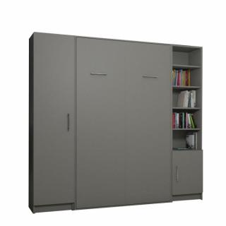 Composition armoire lit escamotable SMART-V2 gris mat Couchage 140 x 200 cm colonne armoire et bibliothèque