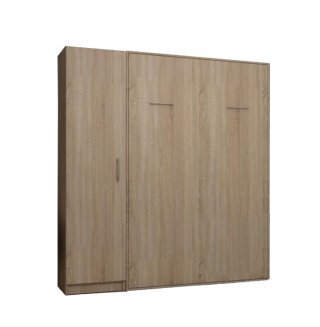 Composition armoire lit escamotable SMART-V2 chêne naturel Couchage 160 x 200 cm colonne armoire