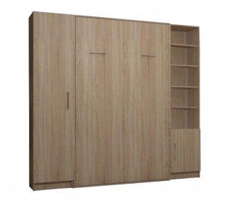 Composition armoire lit escamotable SMART-V2 chêne naturel Couchage 160 x 200 cm colonne armoire et bibliothèque