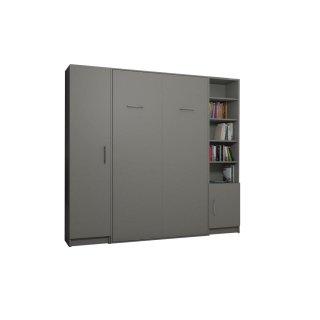 Composition armoire lit escamotable SMART-V2 gris mat Couchage 160 x 200 cm colonne armoire et bibliothèque