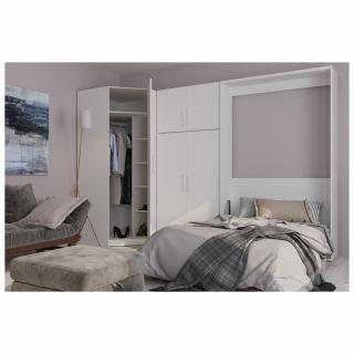 Composition armoire lit escamotable SMART-V2 blanc mat Couchage 140 x 200 cm armoire 2 portes + angle