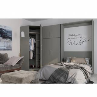 Composition armoire lit escamotable SMART-V2 gris mat Couchage 140 x 200 cm armoire 2 portes + angle