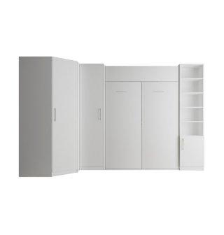 Composition armoire lit escamotable SMART-V2 blanc mat Couchage 160 x 200 cm  2 colonnes rangements + angle