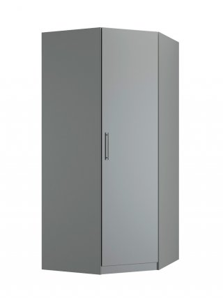 Composition armoire lit escamotable SMART-V2 gris mat Couchage 160 x 200 cm  2 colonnes rangements + angle