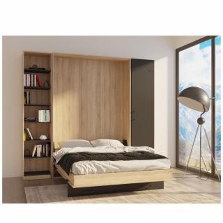 Composition lit escamotable style industriel TEKNO bi-ton chêne noir mat 140*200 cm L : 259 cm