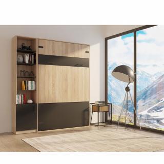 Composition lit escamotable style industriel TEKNO bi-ton chêne noir mat 140*200 cm L : 209 cm