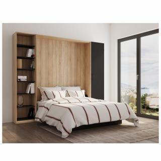 Composition lit escamotable style industriel TEKNO bi-ton chêne noir mat bibliothèque 160*200 cm L : 279 cm