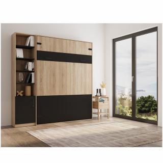 Composition lit escamotable style industriel TEKNO bi-ton chêne noir mat 160*200 cm L : 229 cm