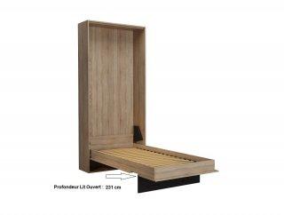 Composition lit escamotable style industriel TEKNO bi-ton chêne noir mat 90*200 cm L : 255 cm
