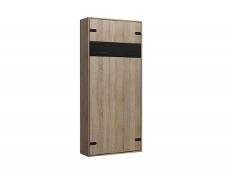 Composition lit escamotable style industriel TEKNO bi-ton chêne noir mat 90*200 cm L : 155 cm