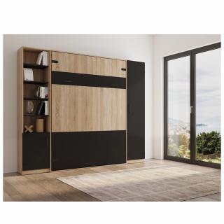 Composition lit escamotable style industriel TEKNO bi-ton chêne noir mat 160*200 cm rangement L : 279 cm